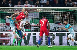Gary Cahill of England between Benjamin Verbic of Slovenia and Aljaz Struna of Slovenia during football match between National teams of Slovenia and England in Round #3 of FIFA World Cup Russia 2018 Qualifier Group F, on October 11, 2016 in SRC Stozice, Ljubljana, Slovenia. Photo by Vid Ponikvar / Sportida