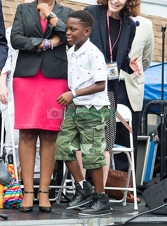 Kevin Hart is honored with 'Kevin Hart Day' birthday celebration and mural dedication by Mural Arts Philadelphia. The event was held outside of Max's Steaks in North Philadelphia, Pennsylvania where he grew up. 06 Jul 2017 Pictured: Hendrix Hart. Photo credit: MEGA TheMegaAgency.com +1 888 505 6342