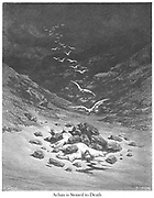The Stoning of Achan From Joshua 7:25 the book 'Bible Gallery' Illustrated by Gustave Dore with Memoir of Dore and Descriptive Letter-press by Talbot W. Chambers D.D. Published by Cassell & Company Limited in London and simultaneously by Mame in Tours, France in 1866