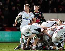 Ulster Rugby's Paul Marshall waits to put in at the scrum<br /> <br /> Photographer Simon King/Replay Images<br /> <br /> Guinness Pro14 Round 10 - Dragons v Ulster - Friday 1st December 2017 - Rodney Parade - Newport<br /> <br /> World Copyright © 2017 Replay Images. All rights reserved. info@replayimages.co.uk - www.replayimages.co.uk