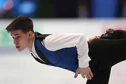 January 17, 2018 - Moscow, Russia - Figure skater Irakli Maysuradze of Georgia performs his short program during a men's singles competition at the 2018 ISU European Figure Skating Championships, at Megasport Arena in Moscow, Russia  on January 17, 2018. (Credit Image: © Igor Russak/NurPhoto via ZUMA Press)