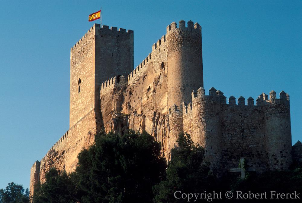 SPAIN, CASTILE-LA MANCHA ALMANSA; one of Spain's most impressive Moorish Castles northwest of Alicante; rebuilt in the 15th century