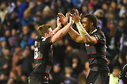Darcy Graham and Viliame Mata after Edinburgh wins the Guinness Pro 14 2017_18 match between Edinburgh Rugby and Glasgow Warriors at Murrayfield, Edinburgh, Scotland on 23 December 2017. Photo by Kevin Murray.