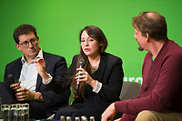 DEU, Deutschland, Germany, Berlin, 23.11.2018: Eamon Ryan, Co-Chair of Green Party / Comhaontas Glás (Ireland), Amelia Womack, Deputy Leader of the Green Party of England and Wales, Thomas Waitz, MEP. Council of the European Green Party (EGP council) at Deutsche Telekom Representative Office.