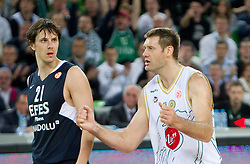 Bostjan Nachbar of Efes and Goran Jagodnik of Olimpija during basketball match between KK Union Olimpija (SLO) and Efes Pilsen (Tur) in Group D of Turkish Airlines Euroleague, on October 20, 2010 in SRC Stozice, Ljubljana, Slovenia. Union Olimpija defeated Efes Pilsen after 2 overtimes 95 - 90. (Photo By Vid Ponikvar / Sportida.com)