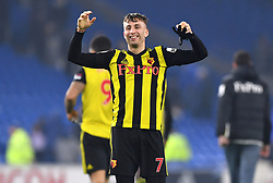Watford's Gerard Deulofeu celebrates after the final whistle during the Premier League match at the Cardiff City Stadium.