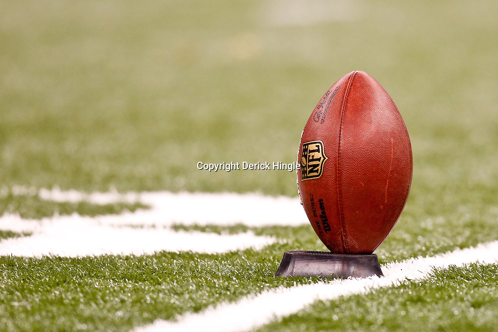 November 6, 2011; New Orleans, LA, USA; A detailed view of an NFL football on the field prior to kickoff of a game between the New Orleans Saints and the Tampa Bay Buccaneers at the Mercedes-Benz Superdome. Mandatory Credit: Derick E. Hingle-US PRESSWIRE