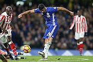 Diego Costa of Chelsea taking a shot at goal. Premier league match, Chelsea v Stoke city at Stamford Bridge in London on Saturday 31st December 2016.<br /> pic by John Patrick Fletcher, Andrew Orchard sports photography.