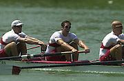 13/07/03/03 .2003 FISA Rowing World Cup - Lucerne.- Switzerland.Finals day CAN M4-.Bow Cameron Baerg, Thomas Herschmiller,.Jake Wetzel.[Mandatory Credit: Peter Spurrier:intersport Images]