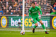 Lukasz Fabianski, the goalkeeper  of Swansea City in action. Premier league match, Swansea city v Leicester city at the Liberty Stadium in Swansea, South Wales on Saturday 21st October 2017.<br /> pic by Aled Llywelyn, Andrew Orchard sports photography.