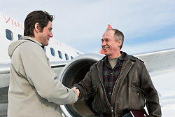 Joe Sparling of Air North, Yukon's Airline, greets customers and investors at the airline's Whitehorse headquarters