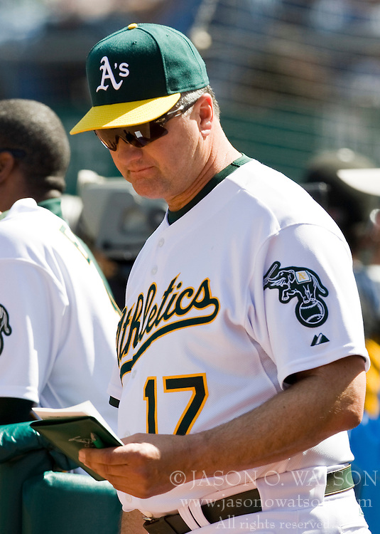 April 18, 2010; Oakland, CA, USA;  Oakland Athletics manager Bob Geren (17) during the eighth inning against the Baltimore Orioles at Oakland-Alameda County Coliseum. Baltimore defeated Oakland 8-3.
