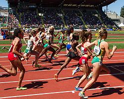 start of women's 1500 meter heat 2, Elise Cranny
