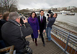 © Licensed to London News Pictures. 10/01/2012. London, UK. Labour Party leader, ED MILIBAND and Rachael Reeves MP, arriving at the OXO Tower on The Southbank, London to give a speech on the UK economy on January 10th, 2012. Photo credit : Ben Cawthra/LNP