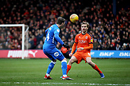 Luton Town midfielder Luke Berry (8) and Peterborough Utd forward Callum Cooke during the EFL Sky Bet League 1 match between Luton Town and Peterborough United at Kenilworth Road, Luton, England on 19 January 2019.