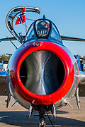 A Mikoyan-Gurevich MIG-15UTI of the Norwegian Air Force Historical Squadron awaits its pilot - Duxford Battle of Britain Air Show at the Imperial War Museum. Also commemorating the 50th anniversary of the 1969 Battle of Britain film. It runs on Saturday 21 & Sunday 22 September 2019