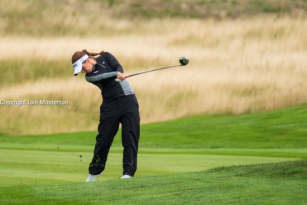 Gleneagles, Scotland, UK; 10 August, 2018.  Day three of European Championships 2018 competition at Gleneagles. Men's and Women's Team Championships Round Robin Group Stage. Four Ball Match Play format.  Pictured; Great Britain;'s Georgia Hall plays approach to the 2nd hole in match against Belgium.