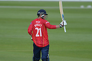 Essex all-rounder Tom Westley celebrates his century during the Royal London One Day Cup match between Hampshire County Cricket Club and Essex County Cricket Club at the Ageas Bowl, Southampton, United Kingdom on 5 June 2016. Photo by David Vokes.