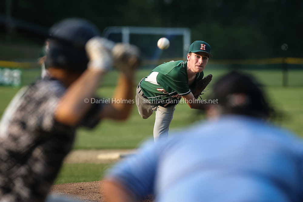 (7/6/15, MEDWAY, MA) Hopkinton's Jack Nealon delivers a pitch during the Senior Babe Ruth baseball game against Medway at Medway High School on Monday. Daily News and Wicked Local Photo/Dan Holmes