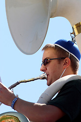 17 September 2011: A tuba player gets his game face on by adorning his head with a propeller topped beanie hat at the NCAA Division 3 football game between the Aurora Spartans and the Illinois Wesleyan Titans on Wilder Field inside Tucci Stadium in.Bloomington Illinois.