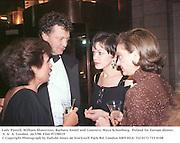Lady Powell, William shawcross, Barbara Amiel and Countess Maya Schonburg.  Poland for Europe dinner. V. &  A. London. 26/3/98. Film 97198f19<br />© Copyright Photograph by Dafydd Jones<br />66 Stockwell Park Rd. London SW9 0DA<br />Tel 0171 733 0108