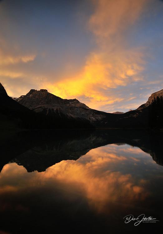 Evening skies reflected in Emerald lake, Yoho National Park, British Columbia, Canada