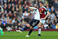 Christian Eriksen of Tottenham Hotspur tries a shot. Premier League match, Burnley v Tottenham Hotspur at Turf Moor in Burnley , Lancs on Saturday 1st April 2017.<br /> pic by Chris Stading, Andrew Orchard sports photography.