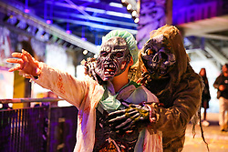 © Licensed to London News Pictures. 05/10/2019. London, UK. People wearing costumes gather before participating in a 'Zombie Walk' on World Zombie Day. World Zombie Day is an international annual event that grew from Pittsburgh's first ever Zombie Walk at Monroeville Mall in 2006 where scenes from the Dawn of the Dead movie were shot. Now, more than 50 cities participate in the event. Photo credit: Dinendra Haria/LNP