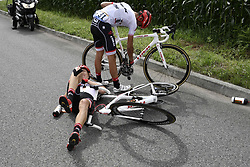 July 12, 2017 - Pau, FRANCE - Austrian Michael Gogl of Trek-Segafredo and Spanish Alberto Contador of Trek-Segafredo pictured after a crash during the 11th stage of the 104th edition of the Tour de France cycling race, 203,5km from Eymet to Pau, France, Wednesday 12 July 2017. This year's Tour de France takes place from July first to July 23rd. BELGA PHOTO POOL JEFF PACHOUD (Credit Image: © Pool Jeff Pachoud/Belga via ZUMA Press)