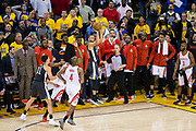 Golden State Warriors guard Stephen Curry (30) attempts to score a three pointer at the buzzer against the Houston Rockets during Game 4 of the Western Conference Finals at Oracle Arena in Oakland, Calif., on May 22, 2018. (Stan Olszewski/Special to S.F. Examiner)