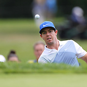 Rory McIlroy chips from the sand trap on the eleventh hole during the third round of theThe Barclays Golf Tournament at The Ridgewood Country Club, Paramus, New Jersey, USA. 23rd August 2014. Photo Tim Clayton