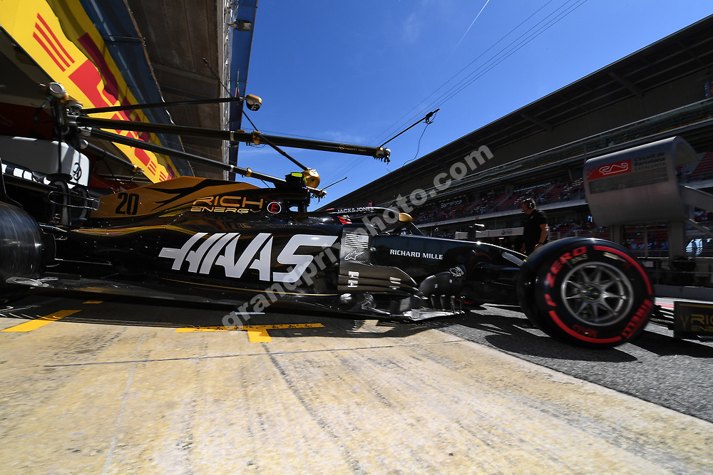 Kevin Magnussen (Haas-Ferrari) exits the pits during practice for the 2019 Spanish Grand Prix at the Circuit de Barcelona-Catalunya. Photo: Grand Prix Photo