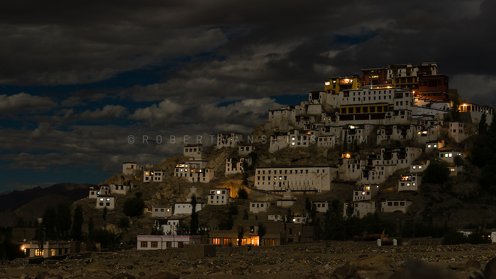 Thiksey Monastery under a full moon night, Thiksey, Ladakh, India