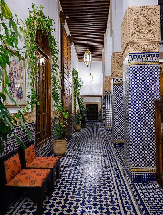 FEZ, MOROCCO - CIRCA APRIL 2017:  Interior of Riad El Yacout in Fes