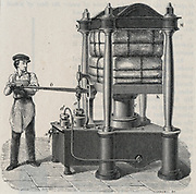Hand-powered hydraulic press. Engraving, 1887.