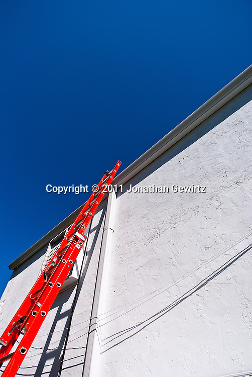 A red ladder leaning against a white wall. WATERMARKS WILL NOT APPEAR ON PRINTS OR LICENSED IMAGES.