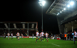 Gloucester Rugby players run back on to pitch for the second-half- Mandatory by-line: Nizaam Jones/JMP - 28/02/2020 - RUGBY - Kingsholm - Gloucester, England - Gloucester Rugby v Sale Sharks - Gallagher Premiership Rugby
