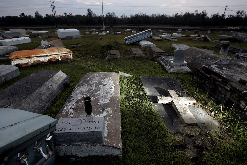 Graves sit in disarray in Hollywood Cemetery after Hurricane Ike in Orange, Texas, Thursday September 18, 2008.
