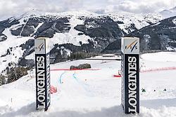12.02.2020, Zwölferkogel, Hinterglemm, AUT, FIS Weltcup Ski Alpin, Abfahrt, Herren, 1. Training, im Bild Blick aus dem Starthaus // view from the Start in action during his 1st training run for the men's Downhill of FIS Ski Alpine World Cup at the Zwölferkogel in Hinterglemm, Austria on 2020/02/12. EXPA Pictures © 2020, PhotoCredit: EXPA/ Johann Groder