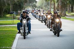 Bill Dodge riding his custom 1952 Harley-Davidson (John Green) Panhead as he leads a group into Tamoka State Park during Daytona Beach Bike Week 2015. FL, USA. March 13, 2015. Photography ©2015 Michael Lichter.