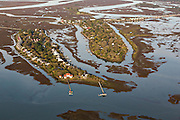 Aerial view of marsh and Oak Island in Charleston, SC.