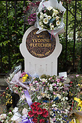 Fading flowers on the memorial to the murdered WPC Yvonne Fletcher in St. Jamess Square, on 29th April 2019, in London, England. WPC Yvonne Fletcher, a Metropolitan Police officer, was shot and killed by an unknown gunman on 17 April 1984, during a protest outside the Libyan embassy on St Jamess Square, London. Her death resulted in an eleven-day siege of the embassy, at the end of which those inside were expelled from the country and the United Kingdom severed diplomatic relations with Libya.