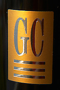 Detail of label GC Grand Cru from Chateau du Cedre Cahors Lot Valley France