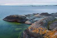 Lichen-covered rocks in Långviksskär, Stockholm Archipelago, Sweden