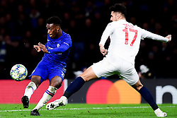 Callum Hudson-Odoi of Chelsea has a shot on goal whilst marked by Zeki Celik of Lille - Mandatory by-line: Ryan Hiscott/JMP - 10/12/2019 - FOOTBALL - Stamford Bridge - London, England - Chelsea v Lille - UEFA Champions League group stage