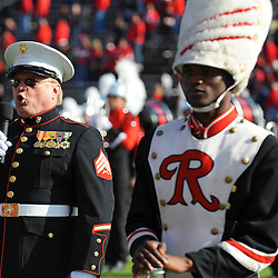 William F Mead performs the national anthem prior to American Athletic Conference Football action between Rutgers and Cincinnati on Nov. 16, 2013 at High Point Solutions Stadium in Piscataway, New Jersey.