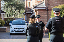 © Licensed to London News Pictures . 24/03/2017 . Manchester , UK . Scene on Lawnside Mews in Didsbury , Manchester where police investigating Khalid Masood's terrorist attack in Westminster have arrested a man in his 30s . Photo credit: Joel Goodman/LNP