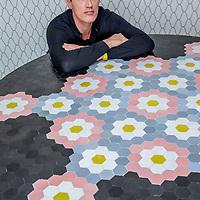 Nederland, Amsterdam, 24 maart 2017.<br />Ontwerper Edward van Vliet met zijn tafelontwerp voor de Designbeurs in Milaan.<br /><br /><br /><br />Foto: Jean-Pierre Jans
