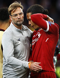 Jurgen Klopp of Liverpool FC, Virgil van Dijk of Liverpool FC look dejected after 3-1 loss against Real Madrid during the UEFA Champions League final between Real Madrid and Liverpool on May 26, 2018 at NSC Olimpiyskiy Stadium in Kyiv, Ukraine