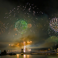 Fireworks of the Hungarian national holiday above the city Budapest.